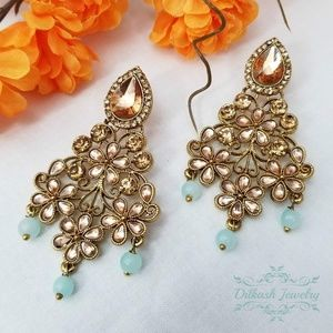 Pakistani Jewelry Gold Baby Blue Polki Earrings